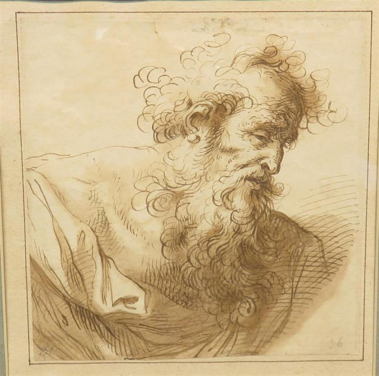Attributed to Domenico Piola Bust of an Old Man