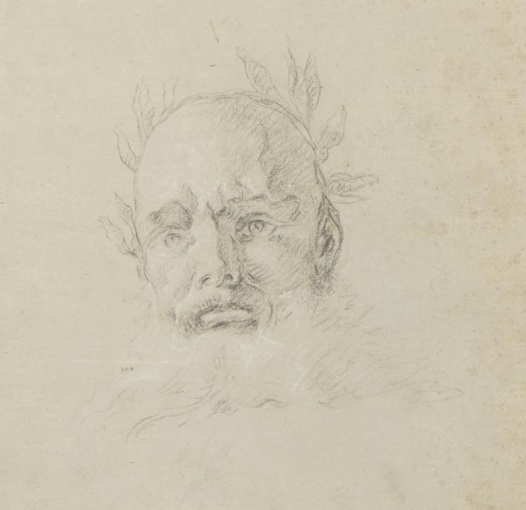 Attributed to Lorenzo Tiepolo A Bearded Man Wearing a Laurel Wreath