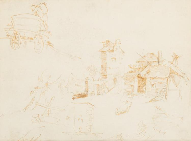 Attributed to Marco Ricci Sketches of Farm Buildings and a Man Loading a Wagon