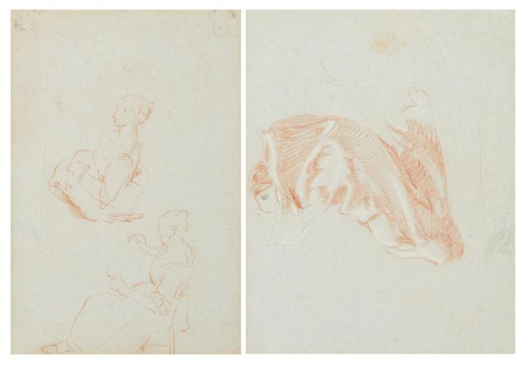 Attributed to Pietro Longhi Study of Two Women (recto) and Drapery Study (verso): A double-sided drawing
