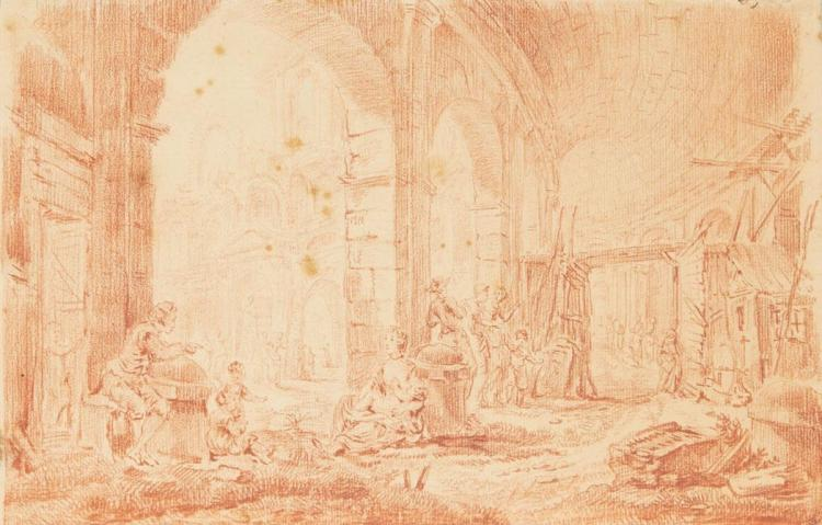 Attributed to Hubert Robert Figures in the Arcade of the Colosseum, Rome