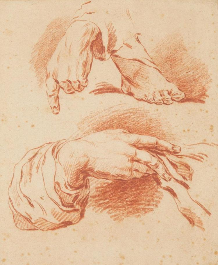 French School 18th Century Studies of Hands and a Foot