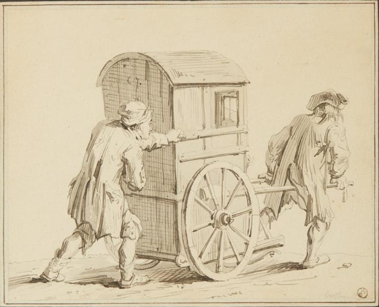 French School 18th Century Two Men with a Cab