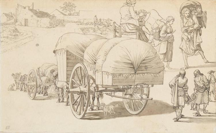 Attributed to Dirck Stoop Studies of Figures and Wagons