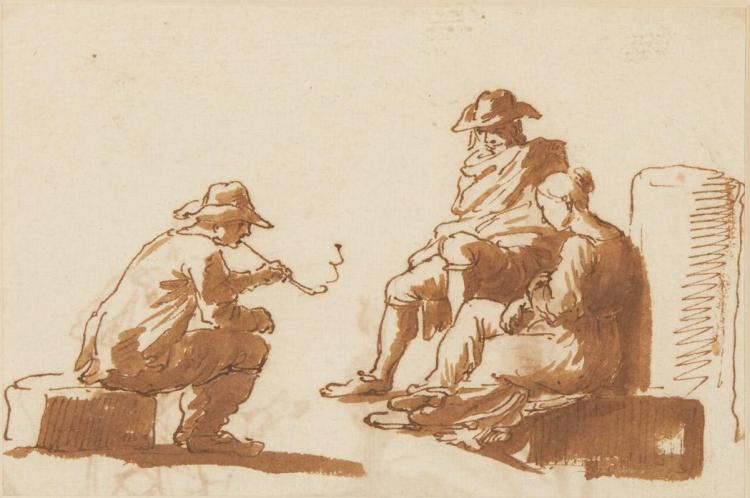 Dutch School 17th Century Three Seated Figures