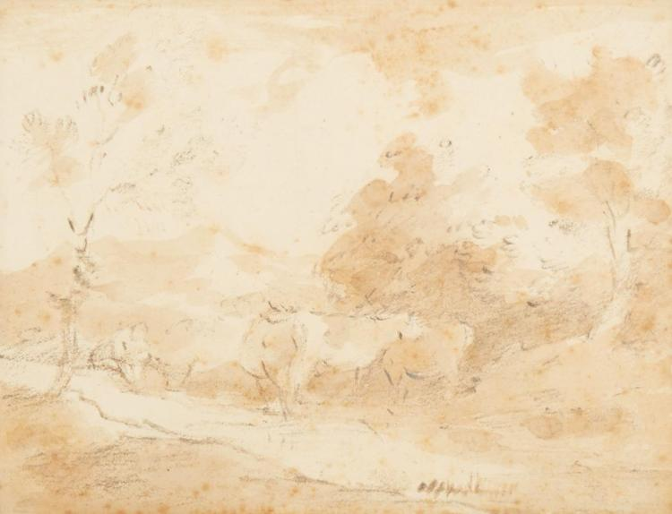 Attributed to Thomas Gainsborough Landscape with a Peasant and Three Cows