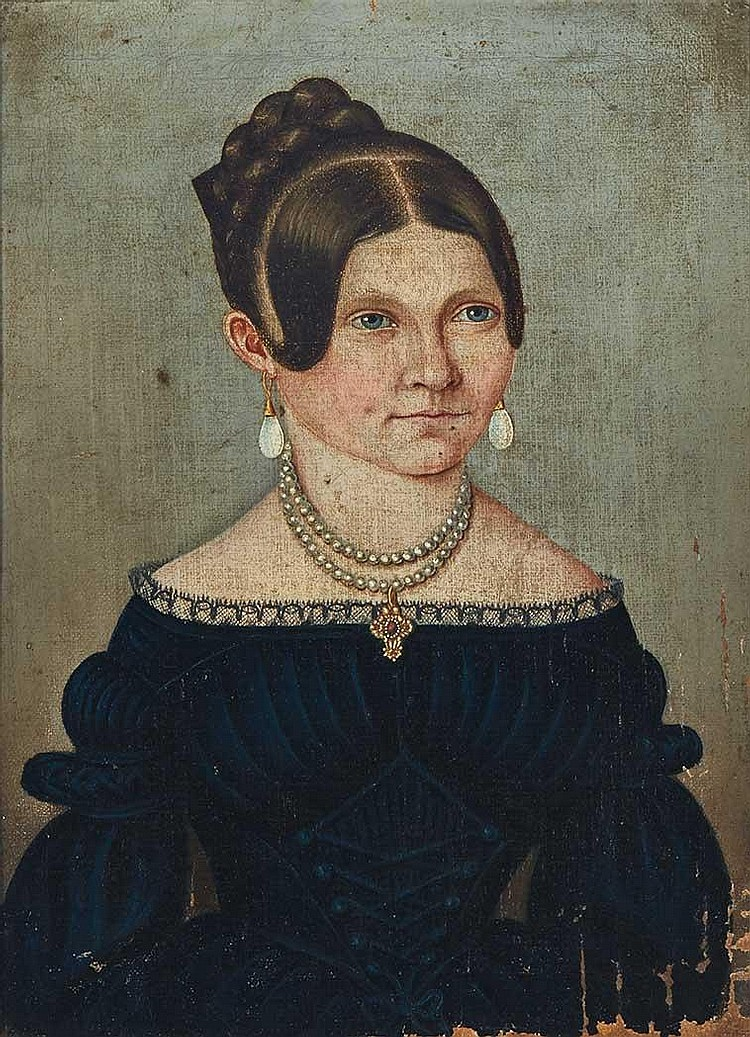 Continental School 19th Century Portrait of a Lady in Black with a Pearl Necklace, circa 1845