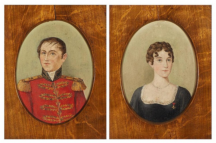 French Provincial School 18th/19th Century Portrait of an Officer and Portrait of a Lady: Two