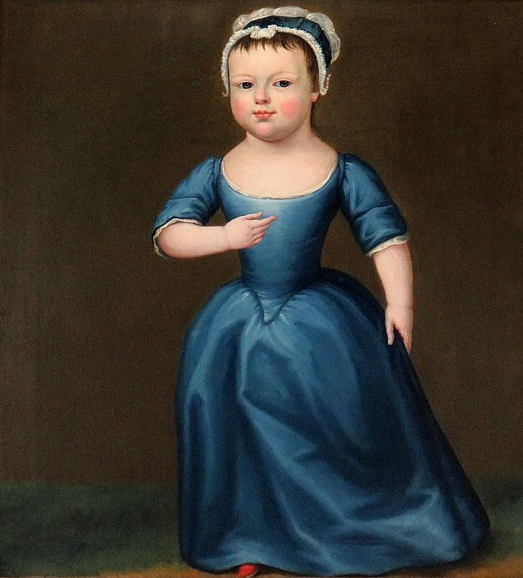 English Provincial School Early 19th Century Young Child in a Blue Gown