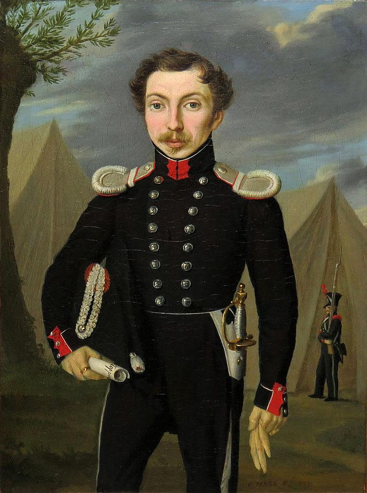 French Provincial School 19th Century Portrait of an Officer in an Encampment