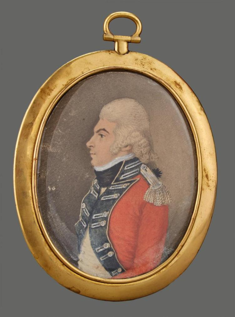 English School 18th Century Portrait Miniature of a Military Officer