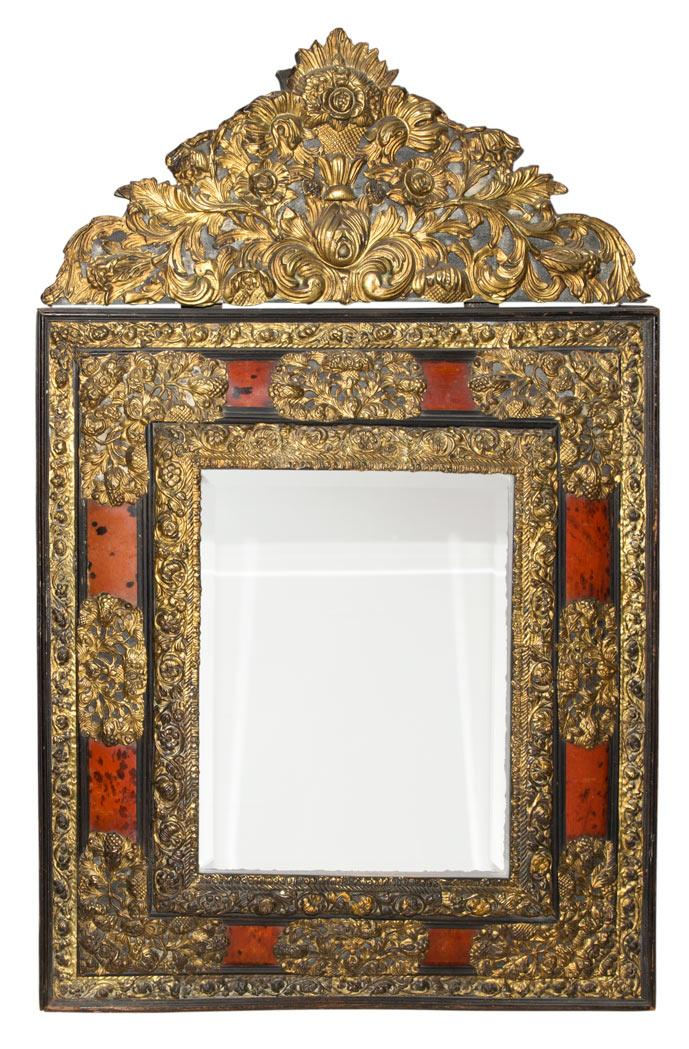 Dutch Part Ebonized, Faux Tortoise Shell and Brass Mounted Repousse Pier Mirror