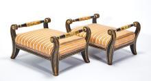 Pair of Regency Black Painted and Parcel Gilt Footstools