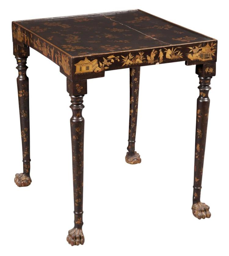 Chinese Export Black Lacquered and Parcel Gilt Stand/Table