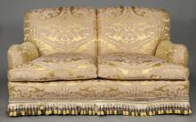Silk Damask Upholstered Two-Seat Settee