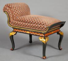 Queen Anne Style Green and Red Japanned Parcel Gilt Stool
