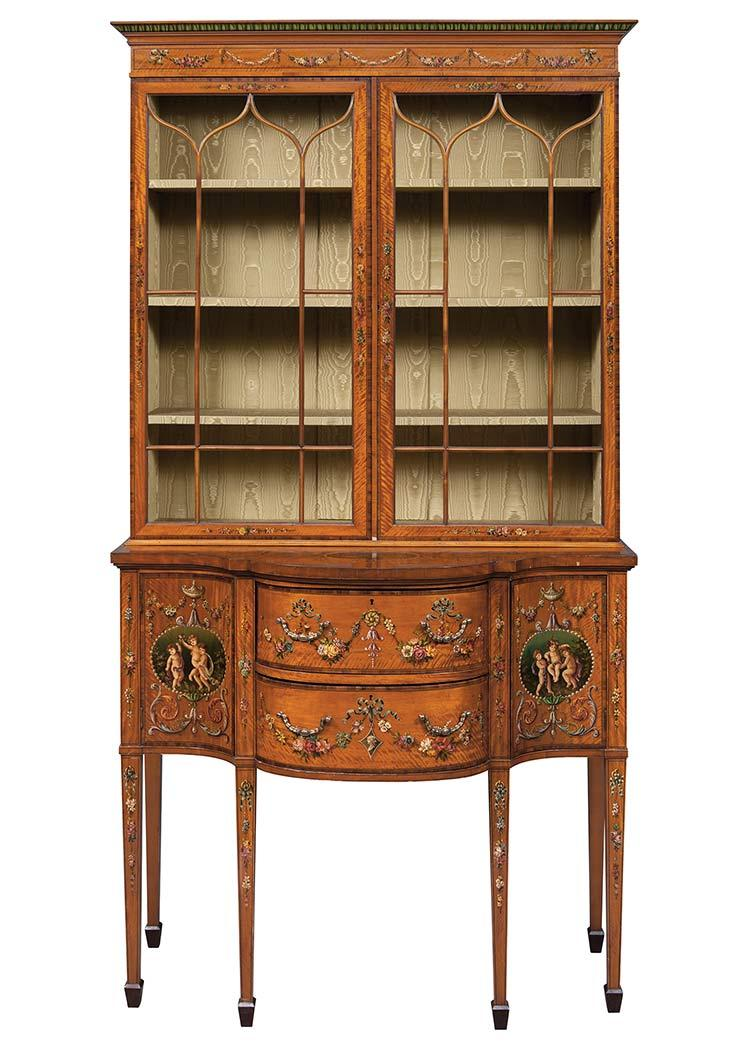 George III Style Painted Satinwood Bookcase Cabinet