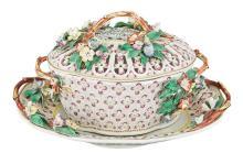 Worcester Porcelain Chestnut Basket, Cover and Stand