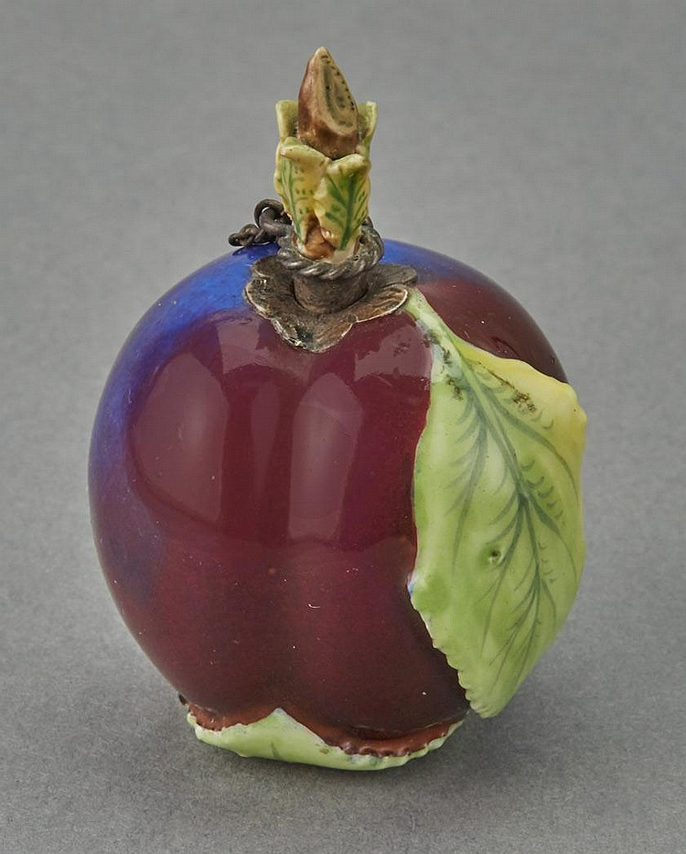 Continental Plum-Form Porcelain Scent Bottle and Stopper
