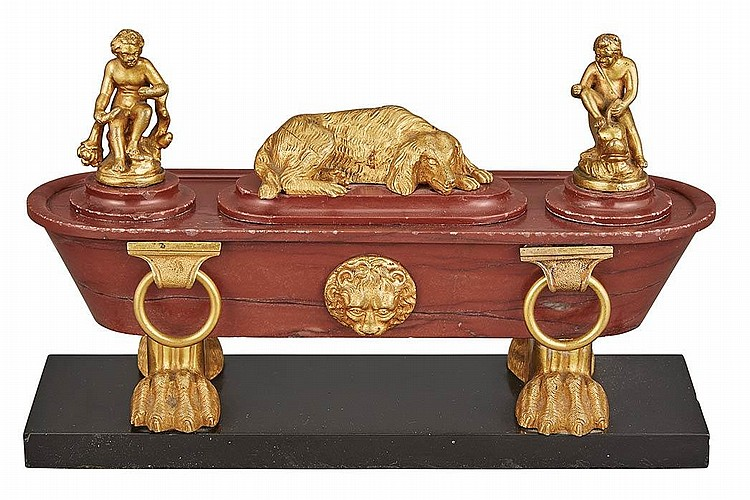 Empire Style Gilt-Metal, Marble and Slate Inkwell