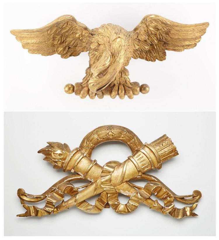 George IV Giltwood Cresting; Together with a Continental Giltwood Cresting