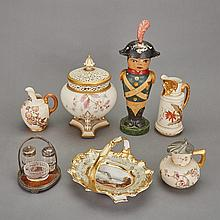 Four Royal Worcester Blush Ivory Porcelain Table Articles