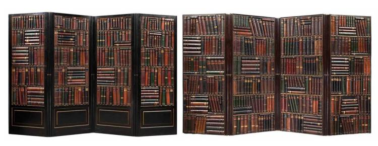 Continental Eight-Fold Leather Bound Brass Mounted Mahogany Book Spine Screen