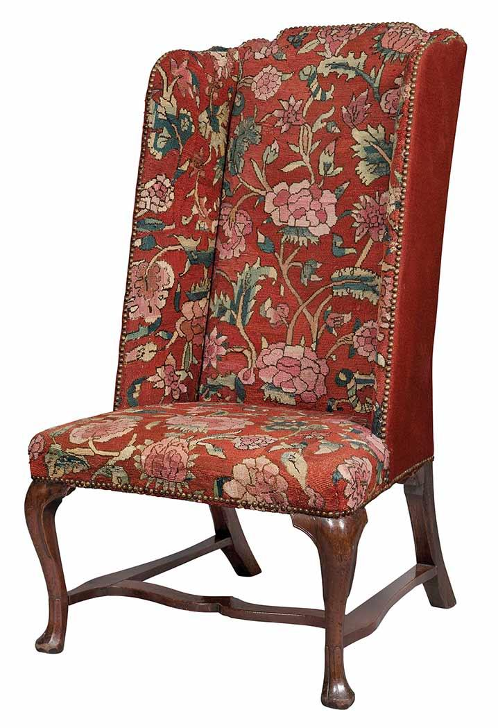 George II Irish Needlework Upholstered Walnut Wing Chair