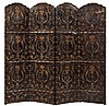 Continental Polychrome Painted and Parcel Gilt Four-Panel Leather Screen