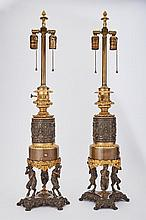 Pair of Napoleon III Gilt and Patinated-Bronze Fluid Lamps