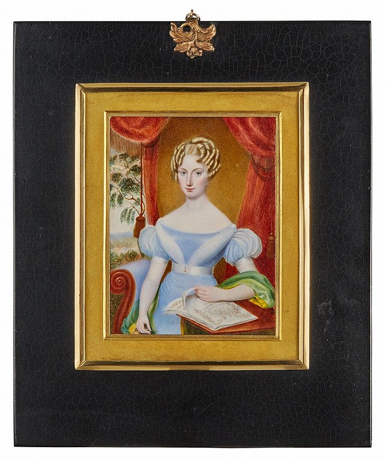 Continental Portrait of a Young Lady Holding Music Sheets
