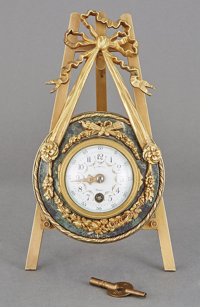 French Gilt-Bronze and Marble Easel Clock