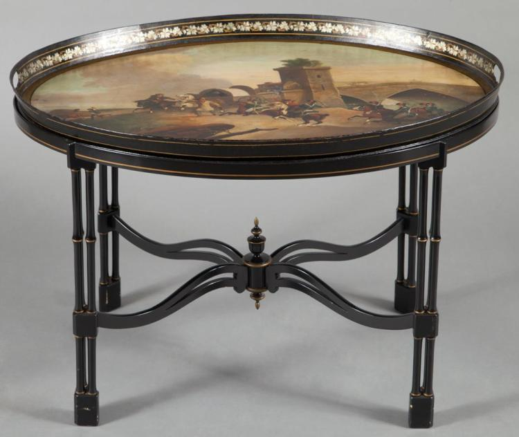 George III Polychrome Decorated and Parcel Gilt Tole Tray on a Later Stand