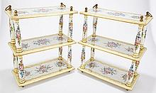 Pair of Dresden Style Porcelain Three-Tier Hanging Shelves