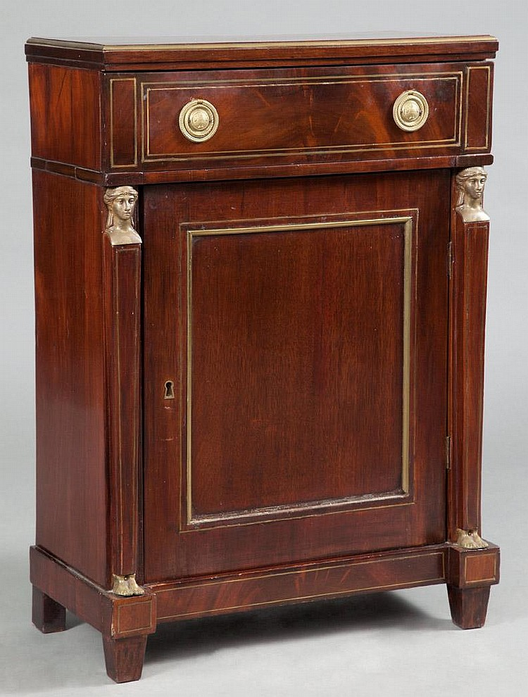 Empire Style Brass Mounted Mahogany Side Cabinet