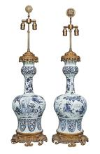 Pair of Dutch Delft Gilt-Metal Mounted Faience Vases