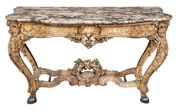 Continental Rococo Style Giltwood Console