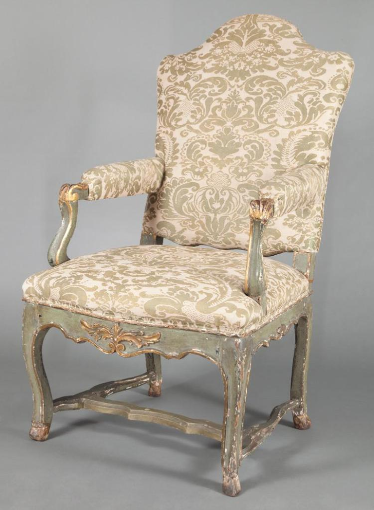 Continental Painted and Parcel Gilt Armchair