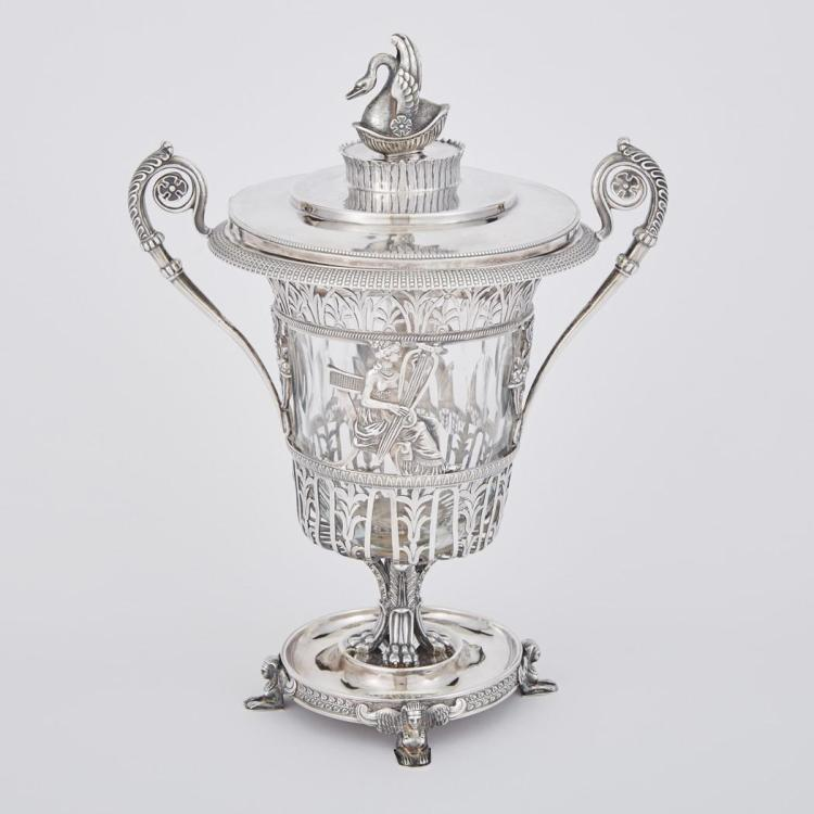 French Silver Mounted Glass Sugar Vase