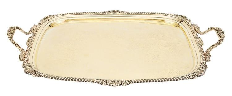 George III Sterling Silver Gilt Tray