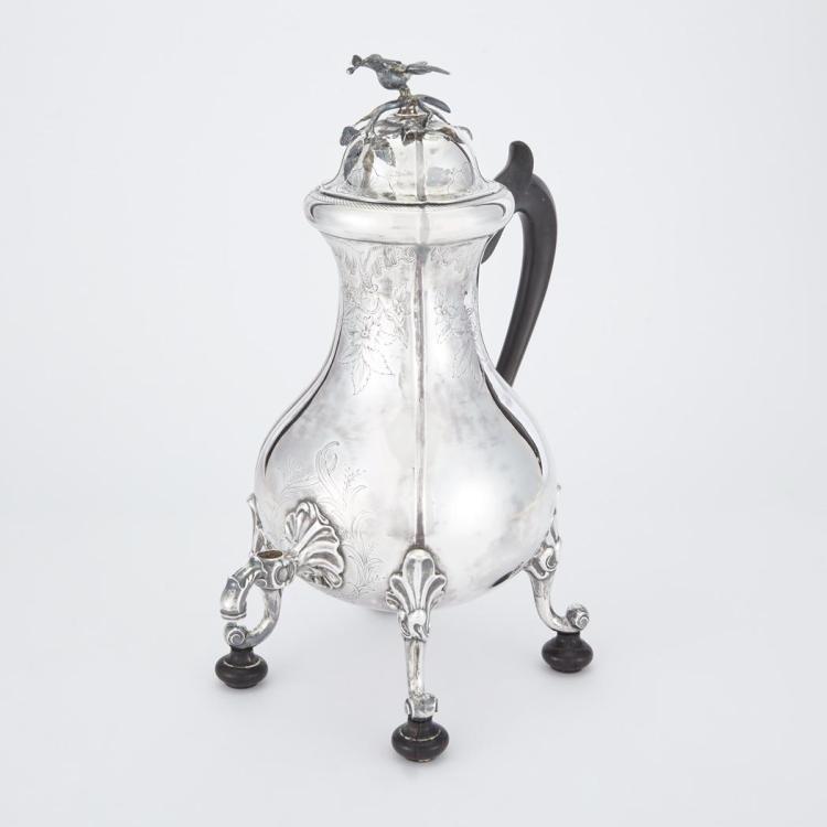 Dutch Silver and Ebonzied Wood Tea Urn