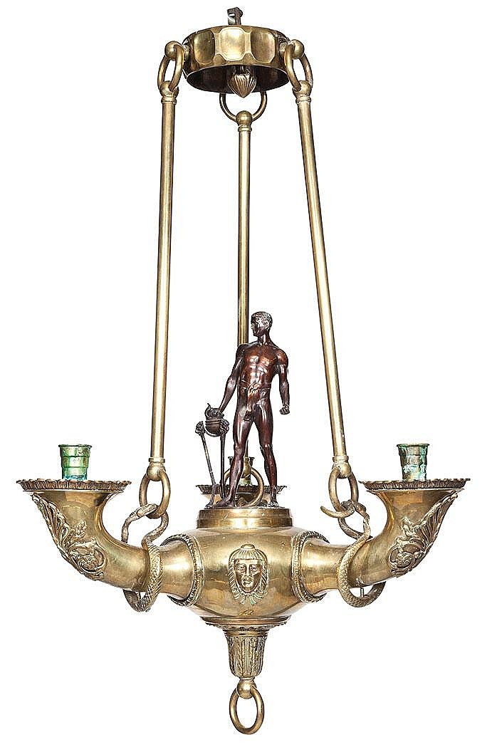 Empire Style Brass and Patinated-Bronze Three-Light Chandelier