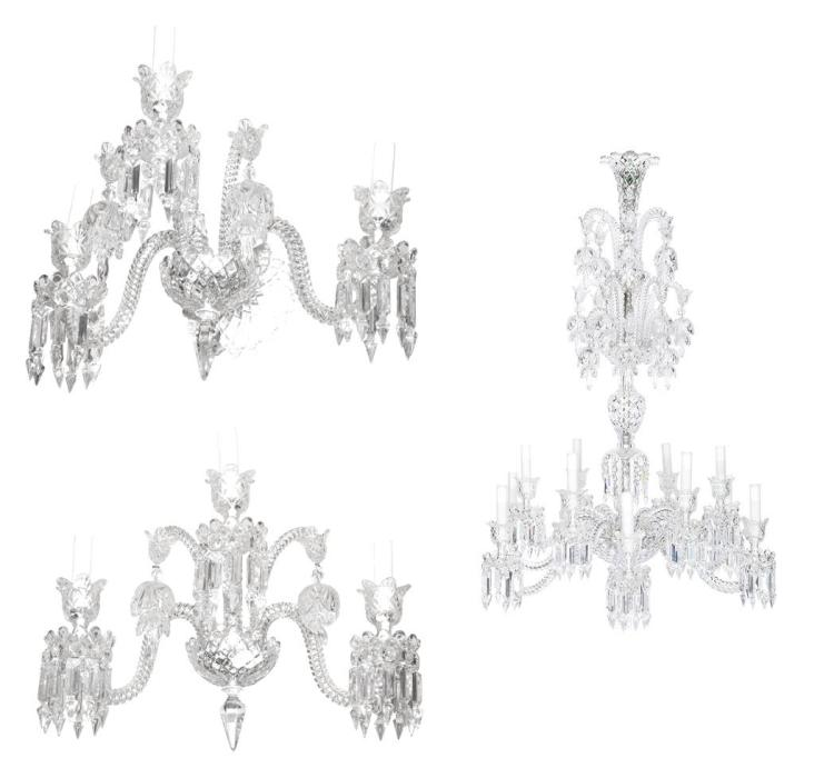 George III Style Cut Glass Twelve-Light Chandelier; Together with a Pair of George III Style Cut Glass Three-Light Wall Lights