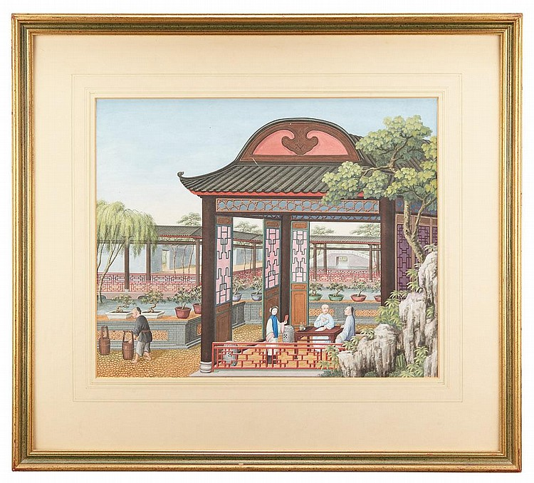 Chinese School, Figures in a Garden Pavilion