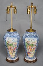 Pair of Chinese Export Famille Rose Porcelain Lamps