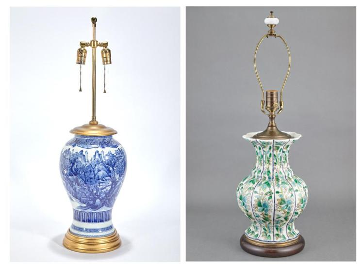 Chinese Blue and White Porcelain Vase; Together with a Chinese Export Famille Verte Vase