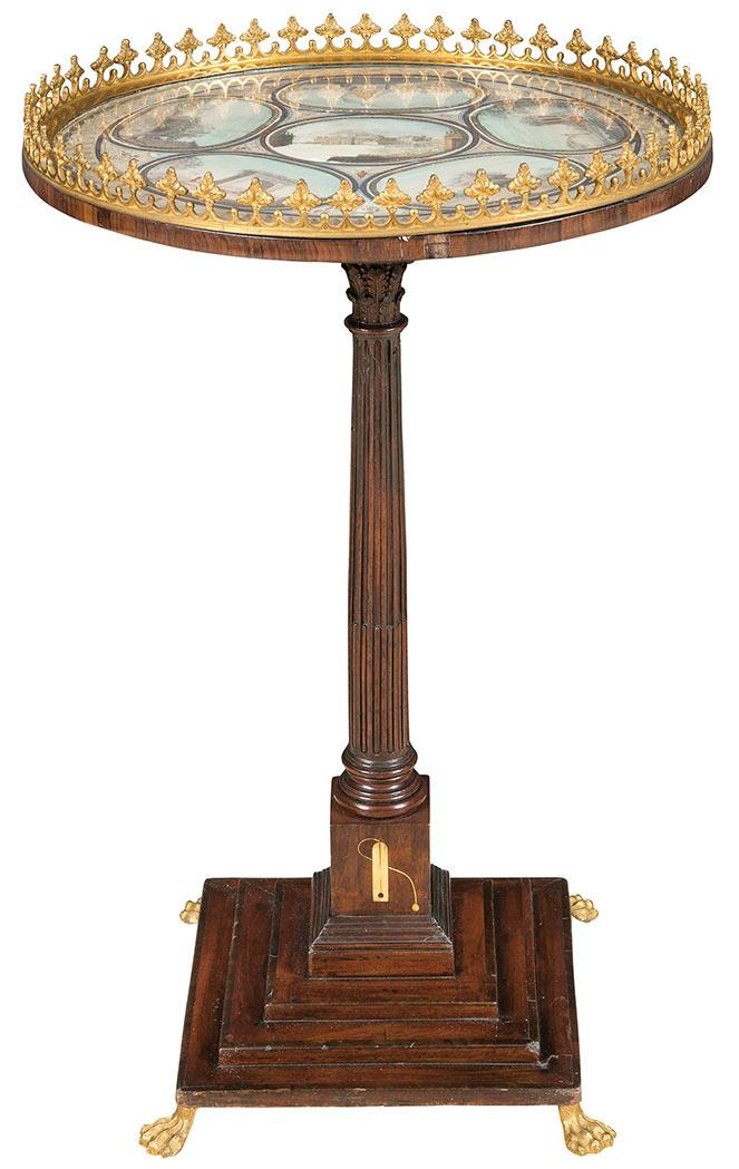 Continental Gilt-Metal Mounted Mahogany Occasional Table