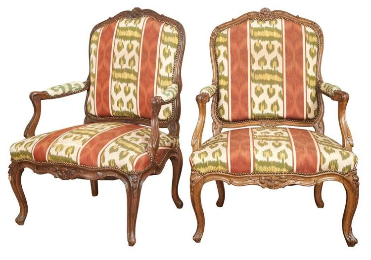 Assembled Pair of Louis XV Upholstered Beechwood Fauteuils a la Reine