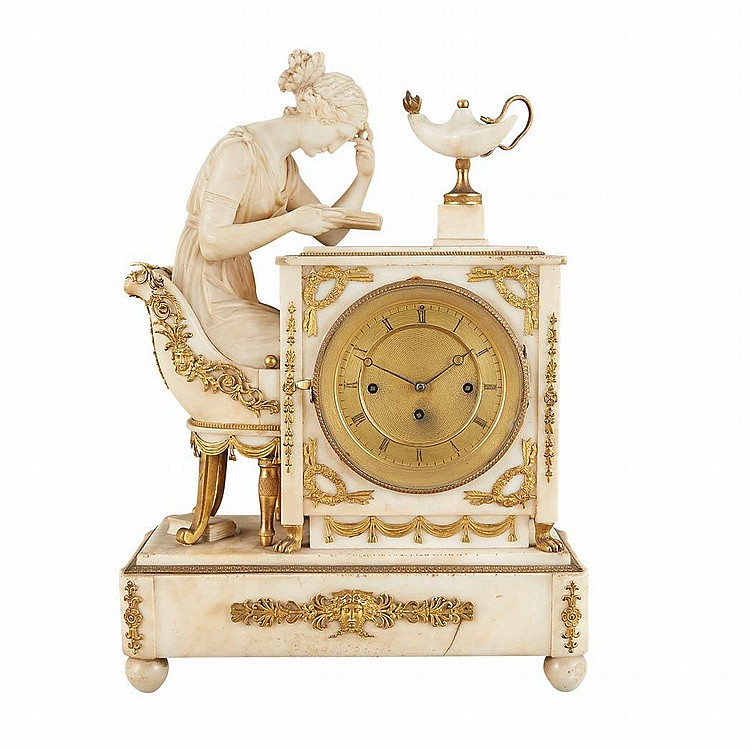 Continental Neoclassical Gilt-Metal Mounted Marble Mantel Clock