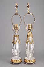 Pair of Continental Gilt-Metal Mounted Rock Crystal Lamps